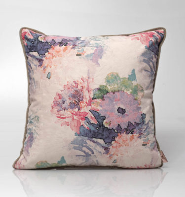 velvet floral cushion coral grey