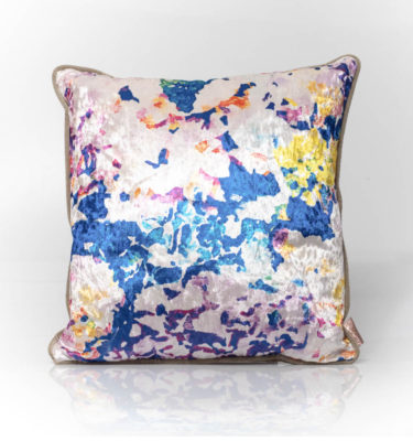 large hydrangea watercolour floral velvet cushion