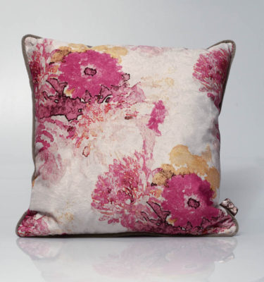 velvet pink mustard painterly cushion
