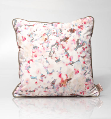 floral watercolour velvet cushion