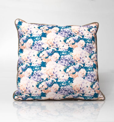 floral purple teal hydrangea print cushion